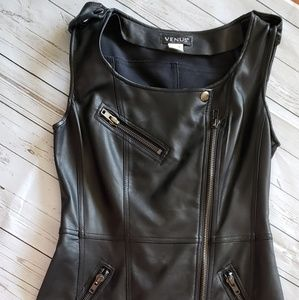 Faux leather zip up dress